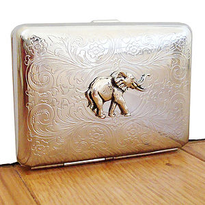 Elephant Cigarette Case Or Silver Card Case