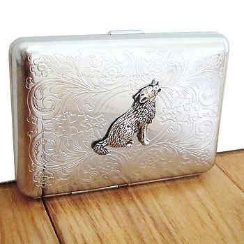 Wild Wolf Cigarette Case Or Silver Card Case
