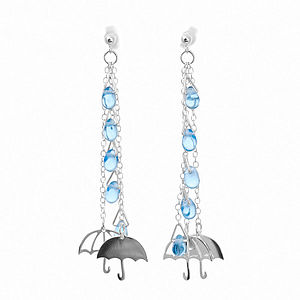 Silver Umbrella Raindrops Earrings