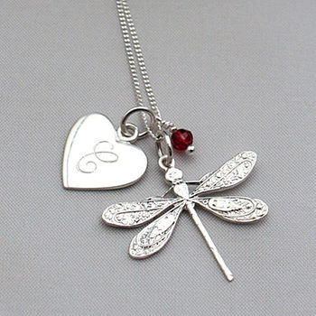 Dragonfly with Garnet and Heart Shaped Initial Charm