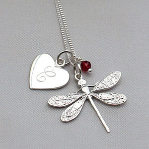 Personalised Silver Charm Dragonfly Necklace - personalised