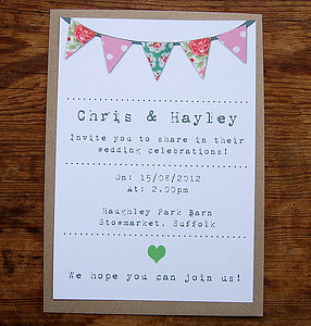 Bunting Digital Wedding Stationery Range - invitations