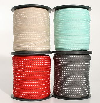 100M Turkish Stitched Ribbon - stone, sea green, red and dark grey