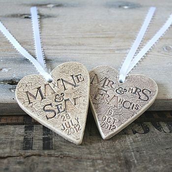 Personalised Lace Wedding Heart Decoration