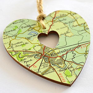 Personalised Map Heart - hanging decorations