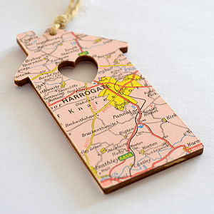 Personalised Map House - tree decorations