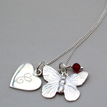 Personalised Butterfly Necklace with Garnet