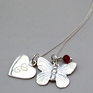 Personalised Silver Butterfly Charm Necklace - children's jewellery