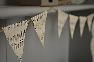 Vintage Music Mini Bunting - outdoor decorations