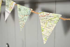 Vintage Map Mini Bunting - room decorations
