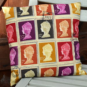 Postage Stamp Cushion - bedroom