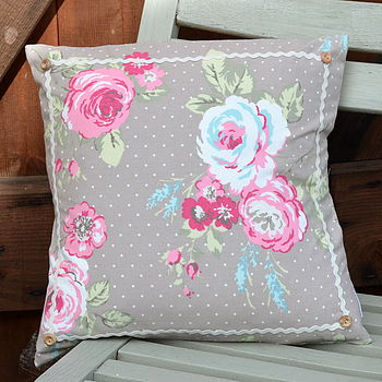 English Rose Cushion - Taupe