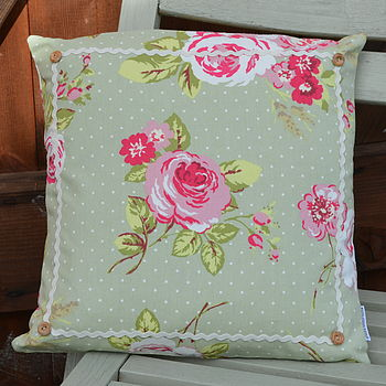English Rose Cushion Sage