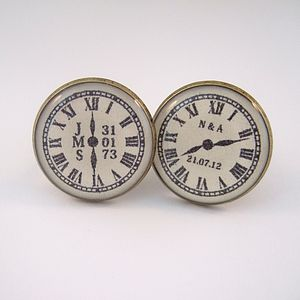 Personalised Antique Bronze Clock Cufflinks - cufflinks