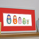 Personalised Russian Doll Family Print Red Mount (Landscape)