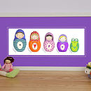 Personalised Russian Doll Family Print Purple Mount (Landscape)