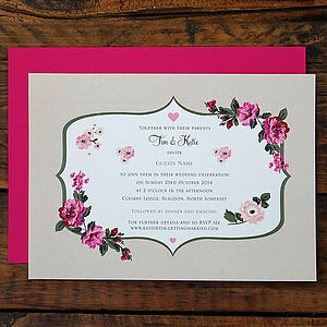 Fancy Florals Wedding Invitation - invitations