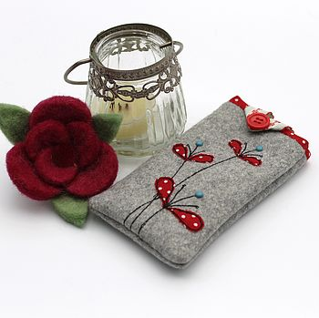 Appliqued Flowers Mobile Phone Case