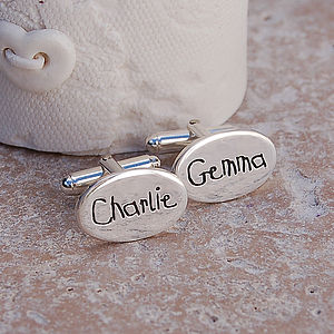 Handmade Personalised Silver Name Cufflinks - men's sale