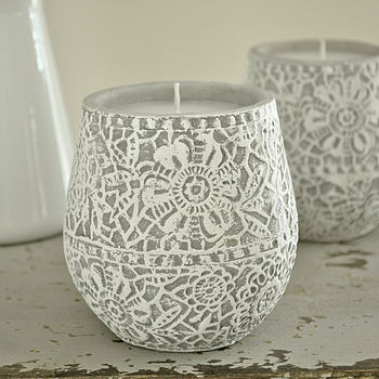 Lace Stone Candle Pot