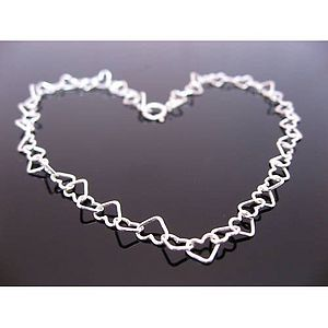 Sterling Silver Hearts Anklet - jewellery sale