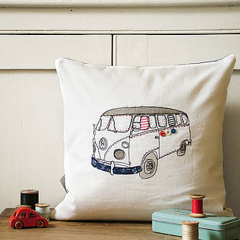Camper Van Embroidered Cushion