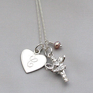 Personalised Silver Fairy Charm Necklace - flower girl jewellery
