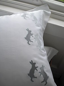 Dancing Hares Egyptian Cotton Pillowcase - bed, bath & table linen