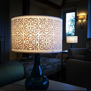 Moroccan Tile Large Drum Lampshade - bedroom