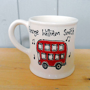 Personalised Hand Painted Red Bus Mug