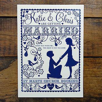 Folk Love Invitation -Front Design detail in Cream & Ink