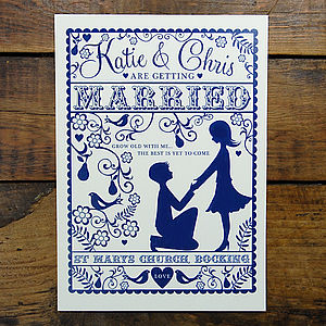 Folk Love Wedding Invitation And RSVP Card