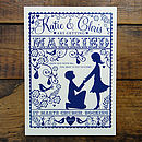 Folk Love Invitation -Front Design detail in Cream & Ink