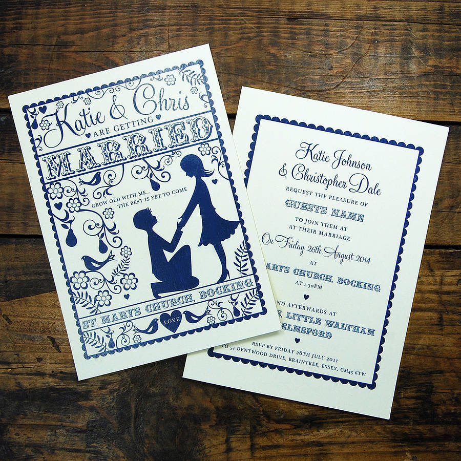 Folk Love Wedding Invitation And Rsvp Card By Ditsy Chic