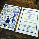 Folk Love Invitation -Front & Back Design detail in Cream & Ink