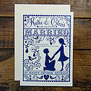 Folk Love Invitation -Front Design detail in Cream & Ink with complimenting cream envelope