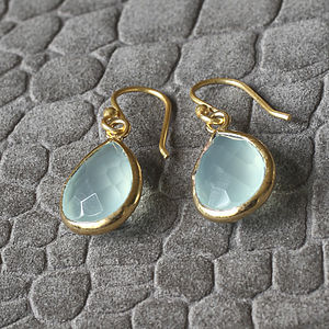 Aqua Chalcedonay Drop Earrings - earrings