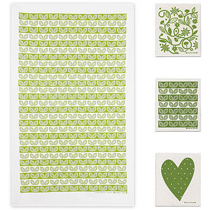 Green Tea Towel And Dishcloths Bundle - shop by room