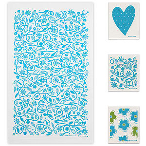 Turquoise Tea Towel And Dishcloths Bundle - kitchen accessories