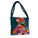 Handmade Felt Floral Design Bag Teal