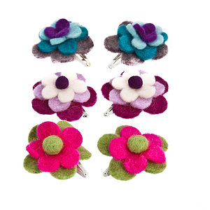 Handmade Felt Child's Flower Snap Clip