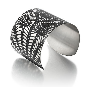 Stainless Steel Pineapple Lace Wide Cuff