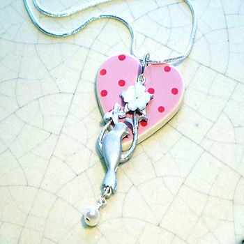 Ceramic Heart Bird Pendant