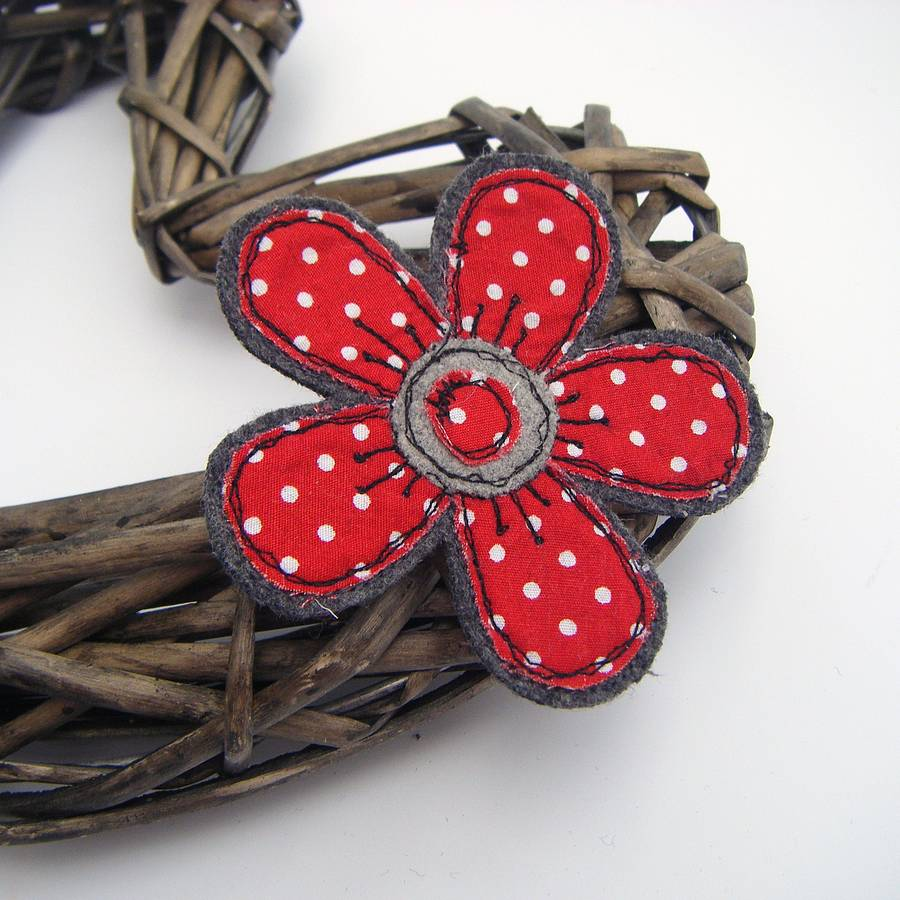 handmade fabric flower brooch by honeypips ...