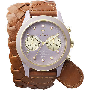 Twisted Leather Strap Watch - watches