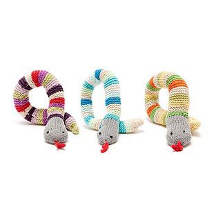 Fairtrade Knitted Toy Rattle Snakes - rattles & teethers