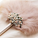 Fleur Rose And Pearl Wedding Feather Fan