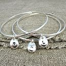 Personalised Initial Beanie Charm Bangle