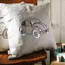 Beetle Car Embroidered Cushion