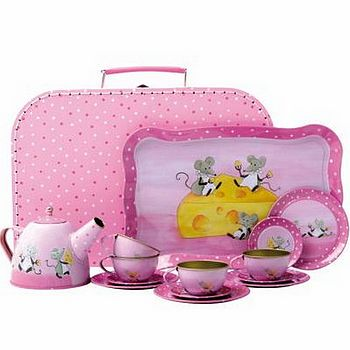 Toy Mouse Design Tin Tea Set